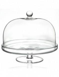 Alzata in vetro con cupola...